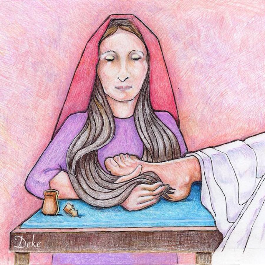 Mary Anoints Jesus\' Feet Drawing by Deke Strauss