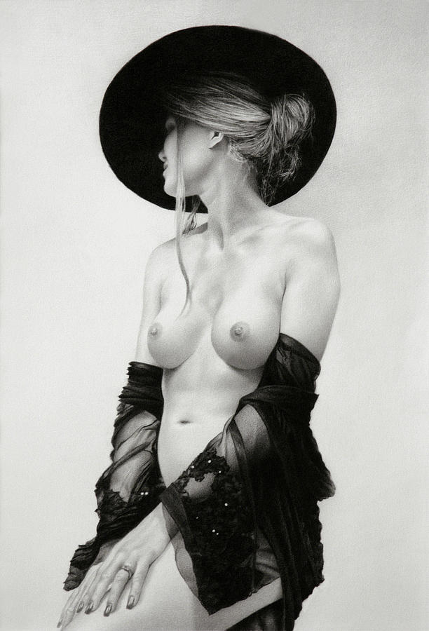 Figure Drawing - Mary In Black by Marcel Franquelin