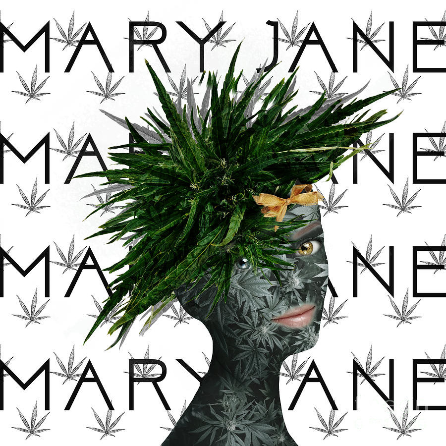Green Digital Art - Mary Jane by Nola Lee Kelsey