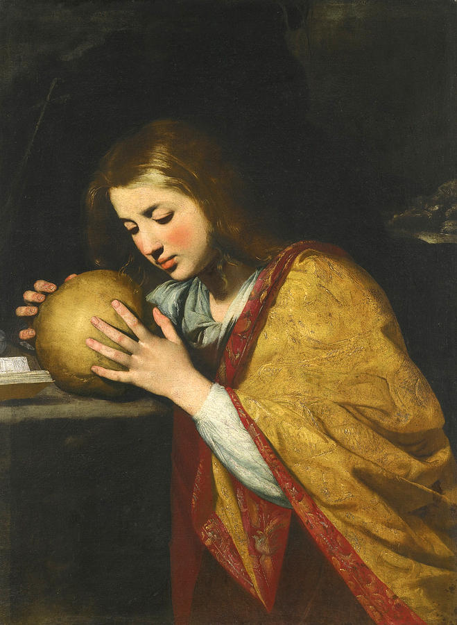 Mary Magdalene In Meditation  Painting by Attributed to Massimo Stanzione