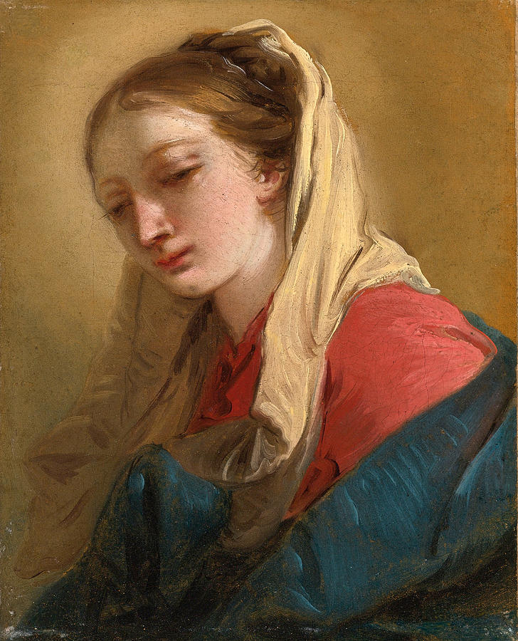 Giovanni Battista Tiepolo Painting - Mary Magdalene In Three-quarter View Veiled In A White Cloth by Giovanni Battista Tiepolo