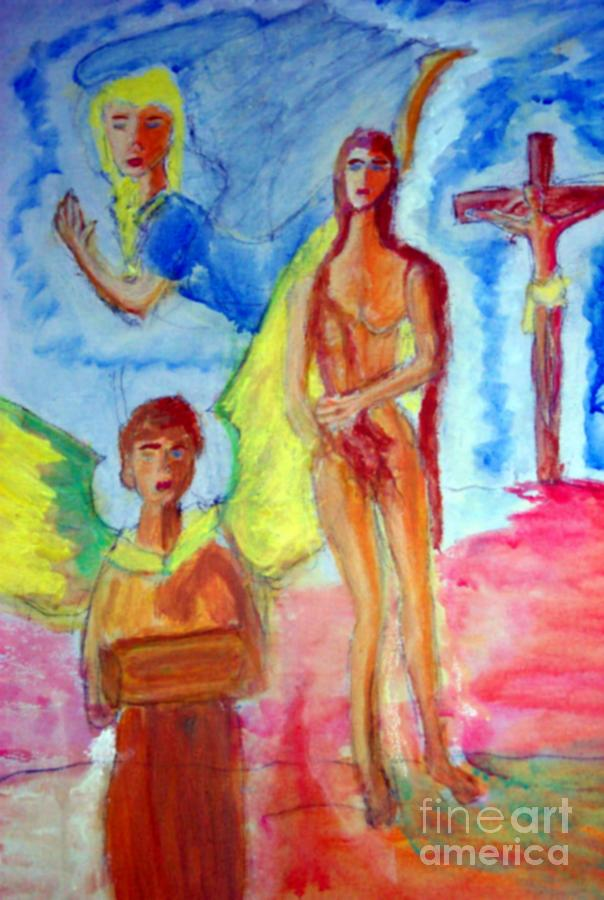 Mary Magdalene Jesus And The Angels Painting By Stanley Morganstein