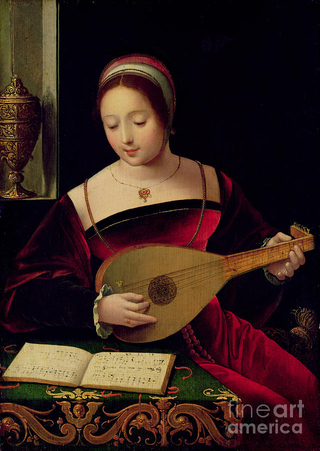 Mary Painting - Mary Magdalene Playing The Lute by Master of the Female Half Lengths