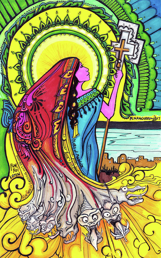 Christian Drawing - Mary Of Madgala by Maggie Nancarrow