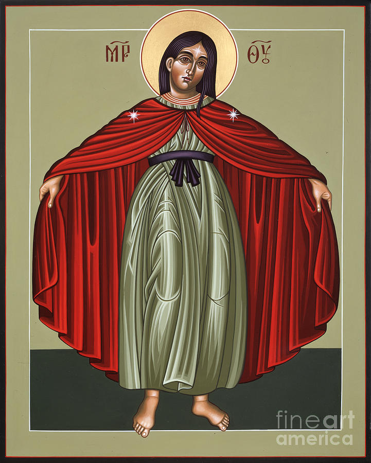 Mother Of God Painting - Mary of the Magnificat Mother of the Poor 091 by William Hart McNichols