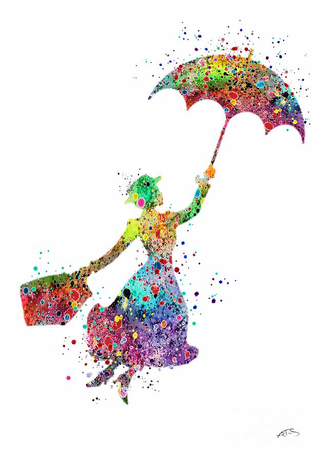 Mary Poppins 2 Watercolor Print Digital Art By Svetla Tancheva