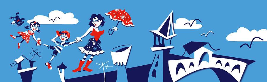 Mary Poppins Digital Art - Mary Poppins flying in Venice Skyline by Arte Venezia
