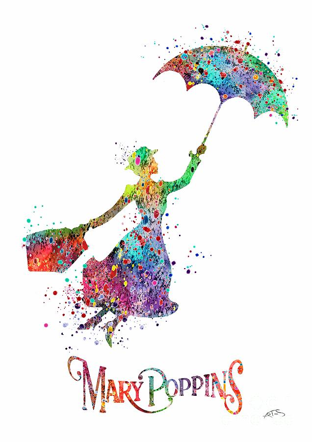 Mary Poppins Watercolor Print Mary Poppins Watercolor
