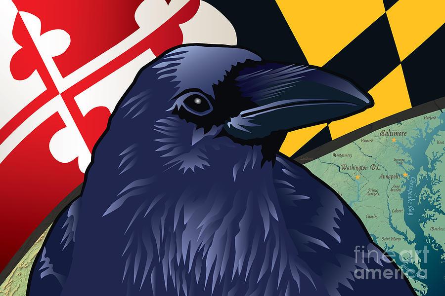Edgar Allan Poe Digital Art - Maryland Citizen Raven by Joe Barsin