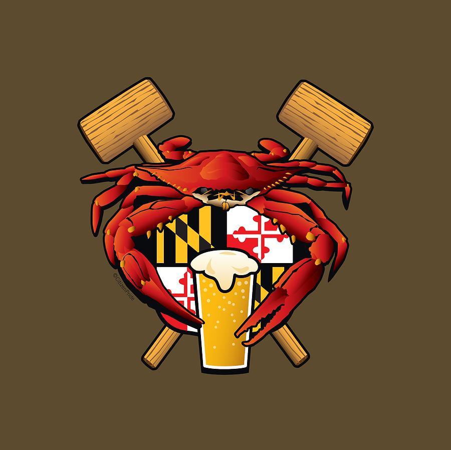 Maryland Blue Crab Digital Art - Maryland Crab Feast Crest by Joe Barsin