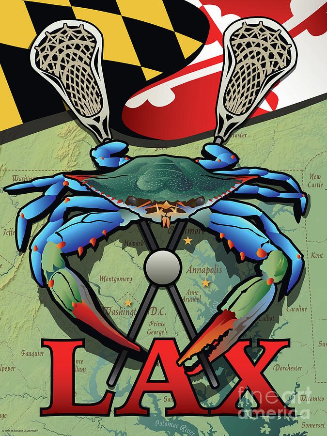 Lax Digital Art - Maryland LAX Blue Crab Crest by Joe Barsin