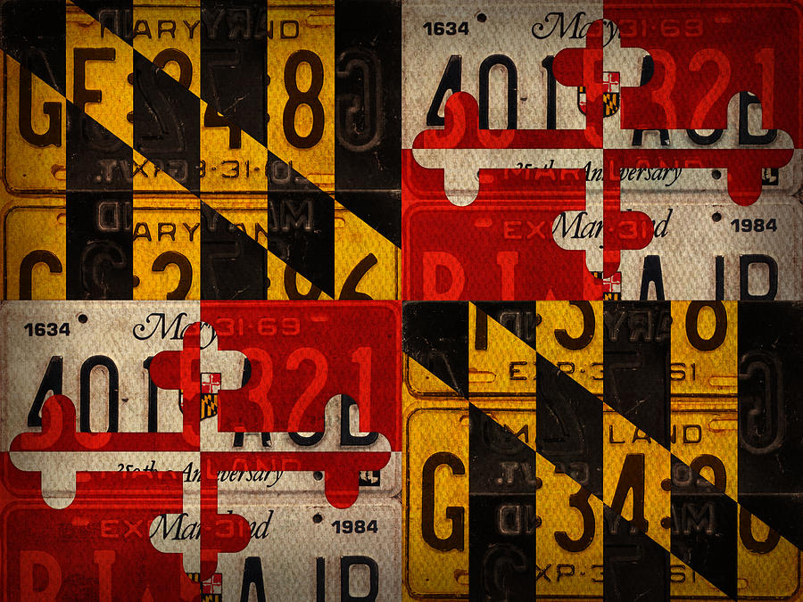 Top Maryland State Flag Recycled Vintage License Plate Art Mixed Media  DX05