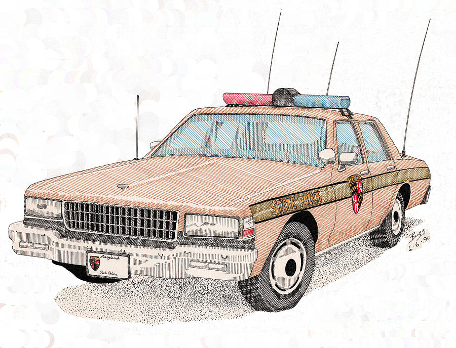 Maryland Drawing - Maryland State Police Car by Calvert Koerber