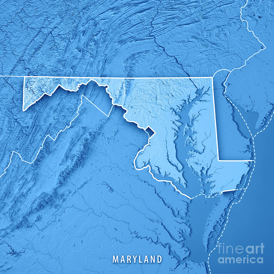 Maryland State Usa 3d Render Topographic Map Blue
