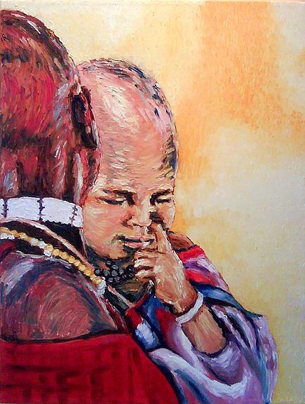 Portrait Painting - Masai Baby by Luiana Foibe Makundi