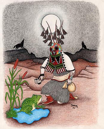 Masauu Kachina-life And Death Kachina Mixed Media by Alfred Dawahoya