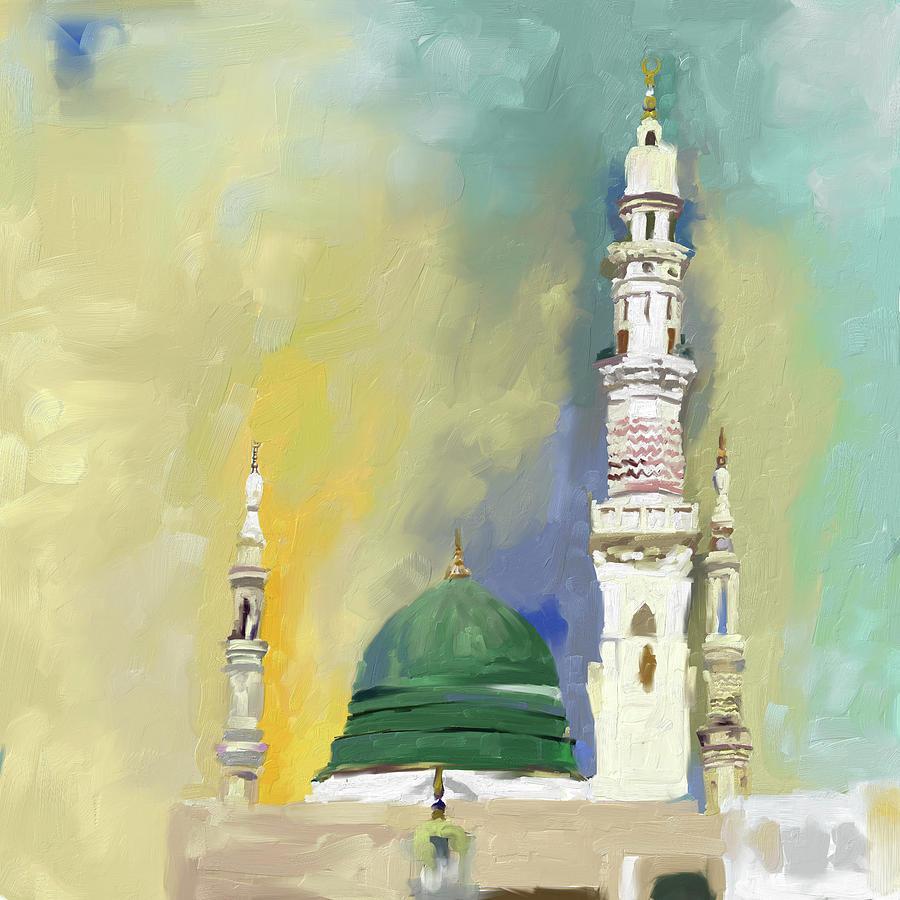 Abstract Painting - Masjid E Nabwi 595 1 by Mawra Tahreem