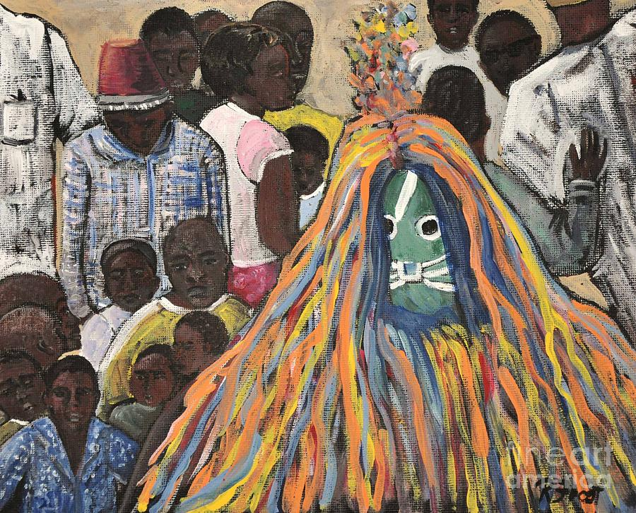 Burkina Faso Painting - Mask Ceremony Burkina Faso by Reb Frost