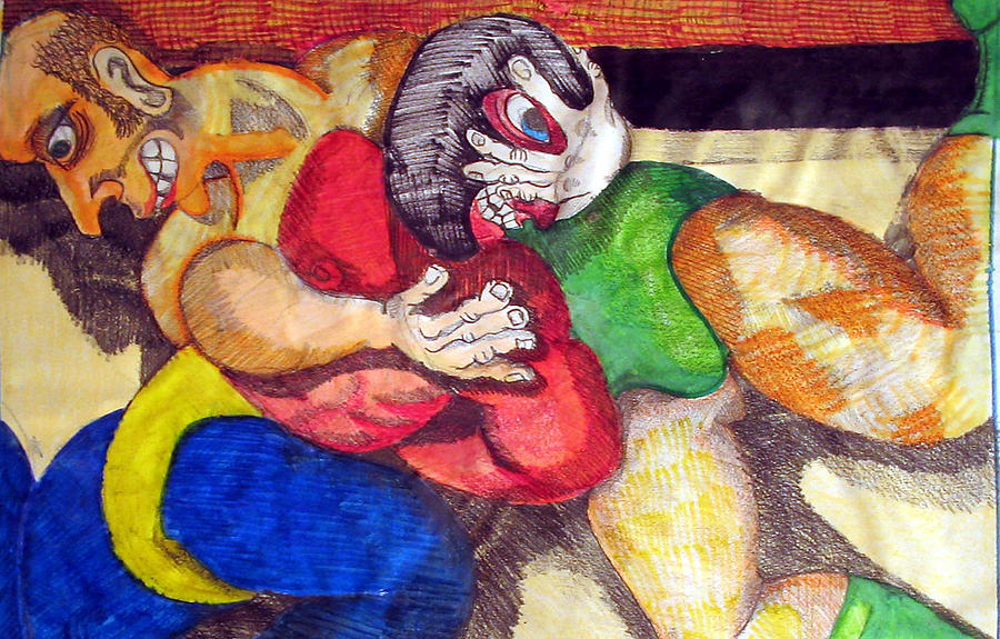 Wrestling Drawing - Mask by Jame Hayes