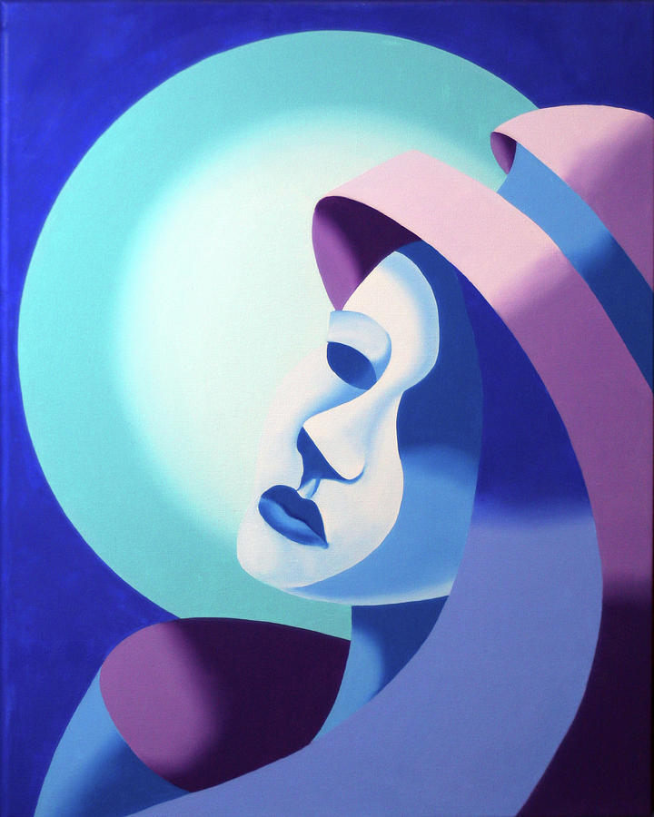 Futurism Painting - Mask On The Moon - Abstract Oil Painting by Mark Webster