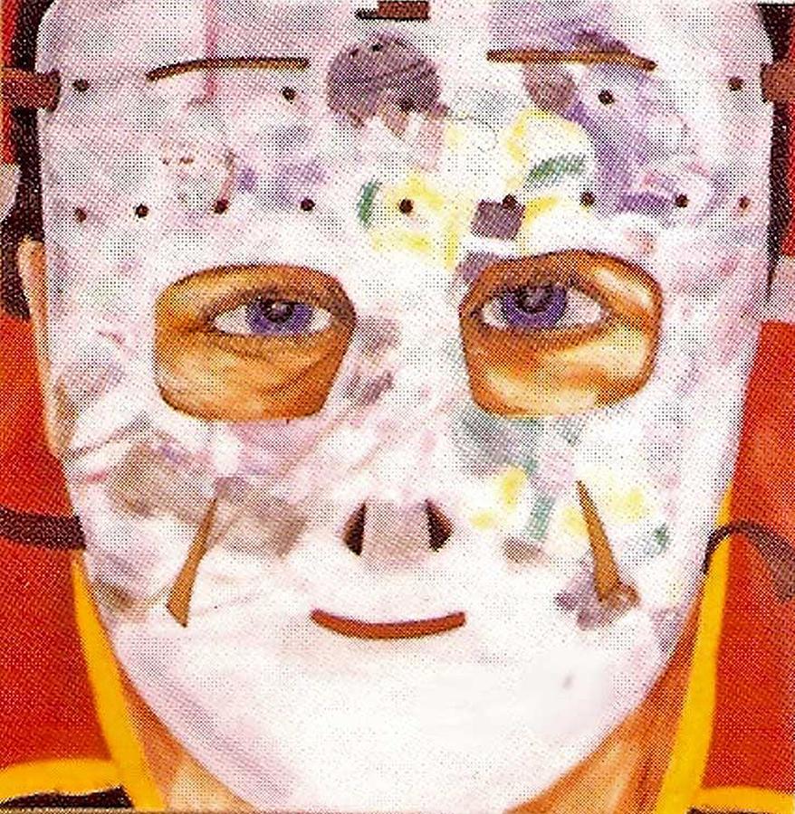 Hockey Painting - Mask Refection by Ken Yackel