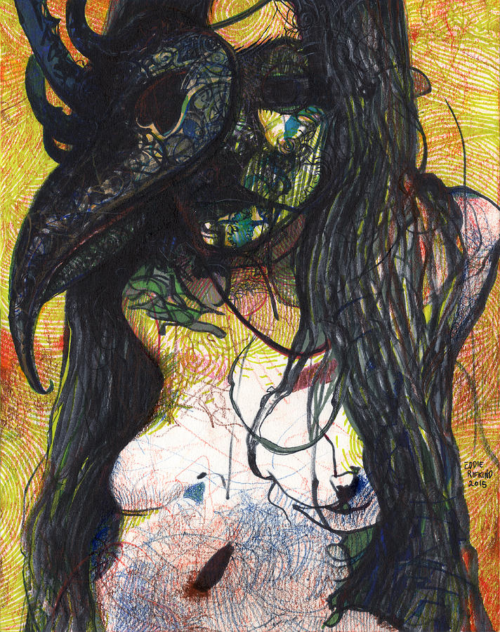 Female Drawing - Masked Muse 1 by Eddie Rifkind