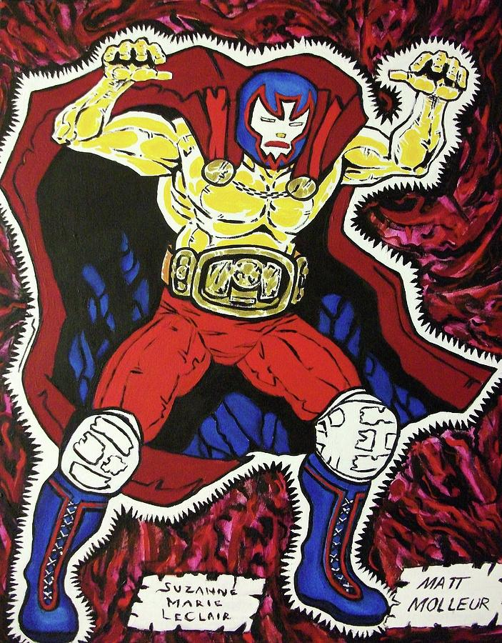 Matthew Molleur Painting - Masked Wrestler Collaboration by Suzanne  Marie Leclair