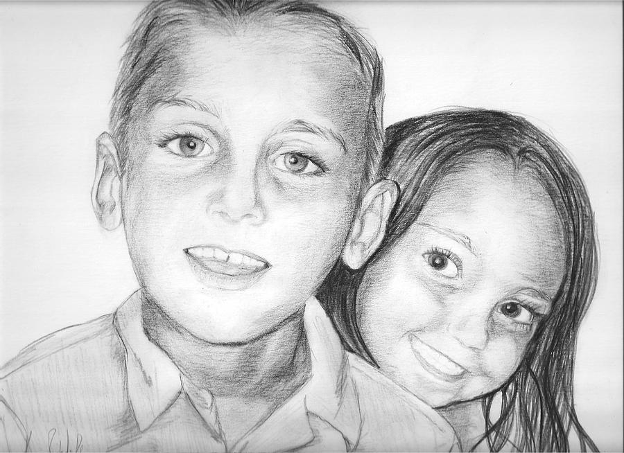 Portrait Drawing - Mason And Madeleine by Monika Degan