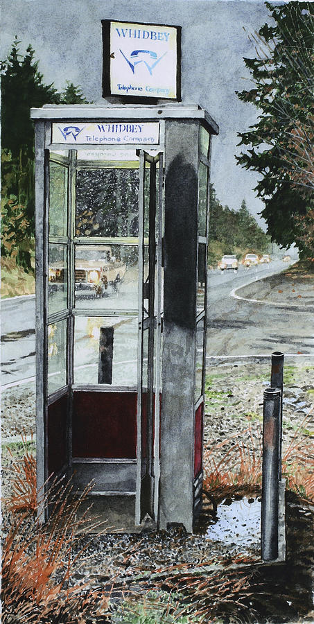 Telephone Painting - Mason-dixon Phone Booth by Perry Woodfin