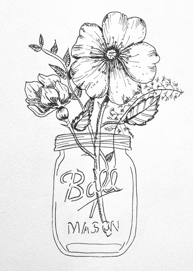 Passion Flower Line Drawing : Mason jar with flowers drawing by kelly bowers