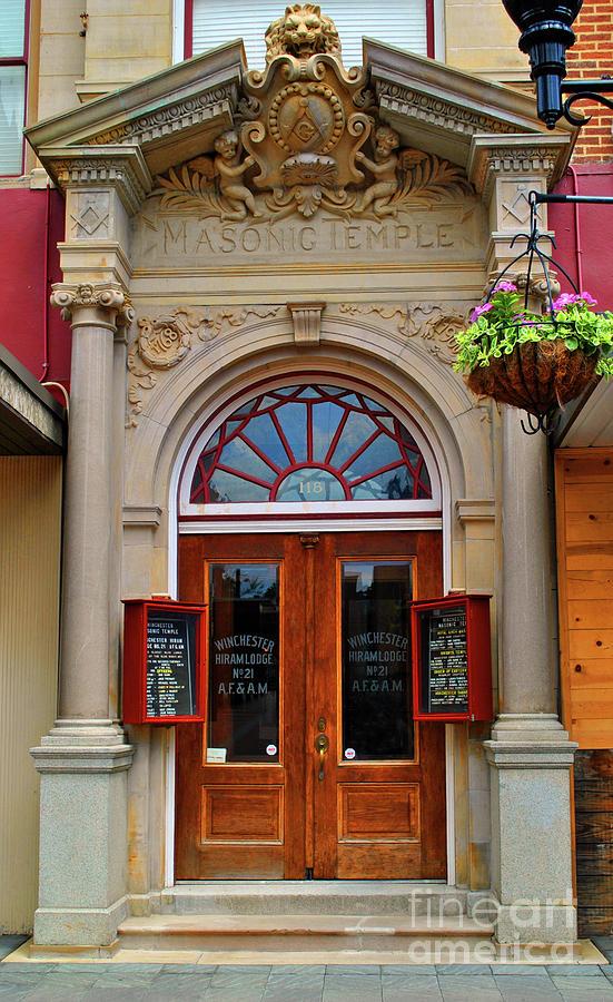 Winchester Photograph - Masonic Temple Doors by Jost Houk