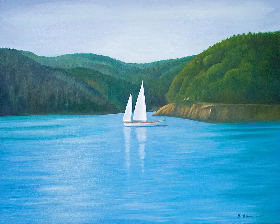 Seascape Painting - Masons Sailboat by Stephen Degan