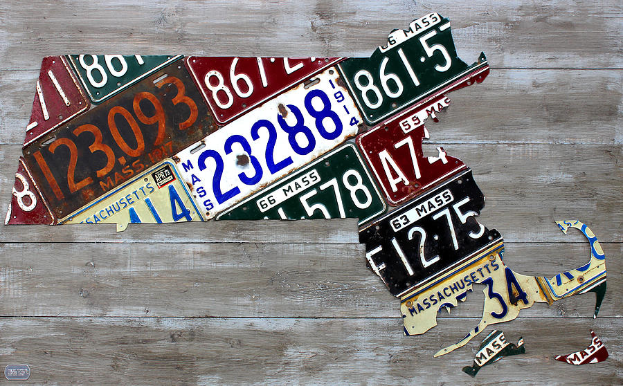 Massachusetts Map Recycled Vintage License Plate Art Very Old Plates ...