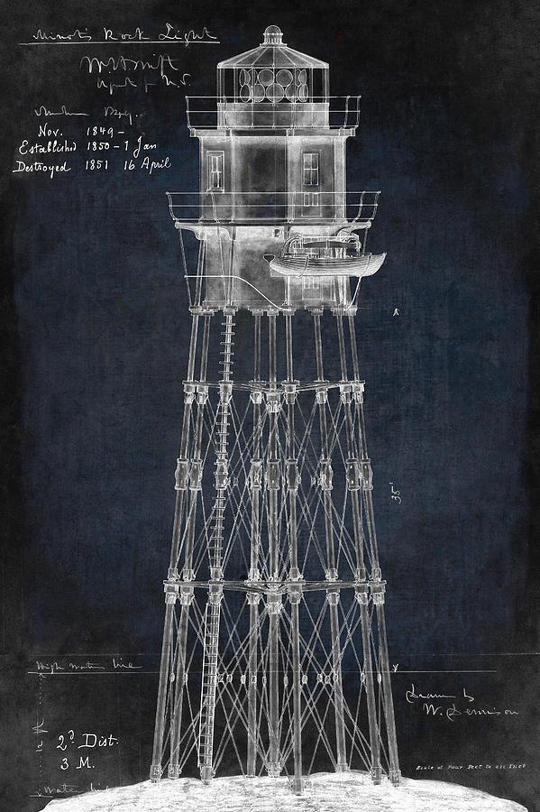 Massachusetts minots ledge lighthouse blueprint 1850 digital art by lighthouse digital art massachusetts minots ledge lighthouse blueprint 1850 by daniel hagerman malvernweather Images