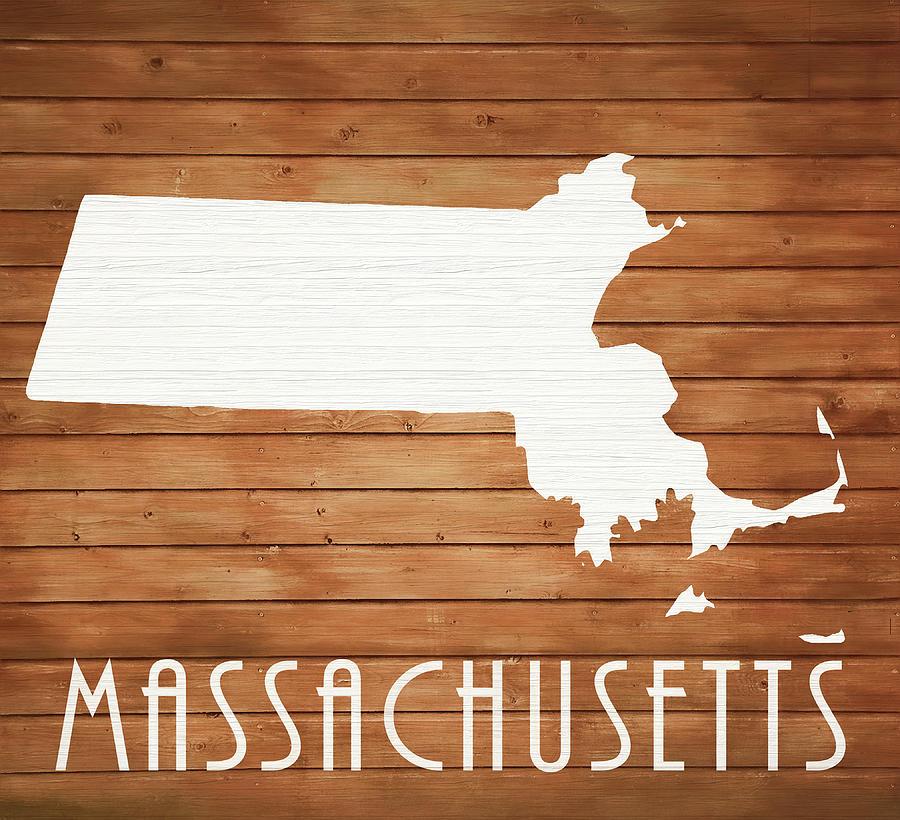 Massachusetts Map Mixed Media - Massachusetts Rustic Map On Wood by Dan Sproul