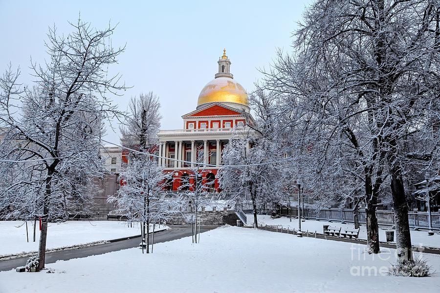 Boston Photograph - Massachusetts State House In Winter by Denis Tangney Jr