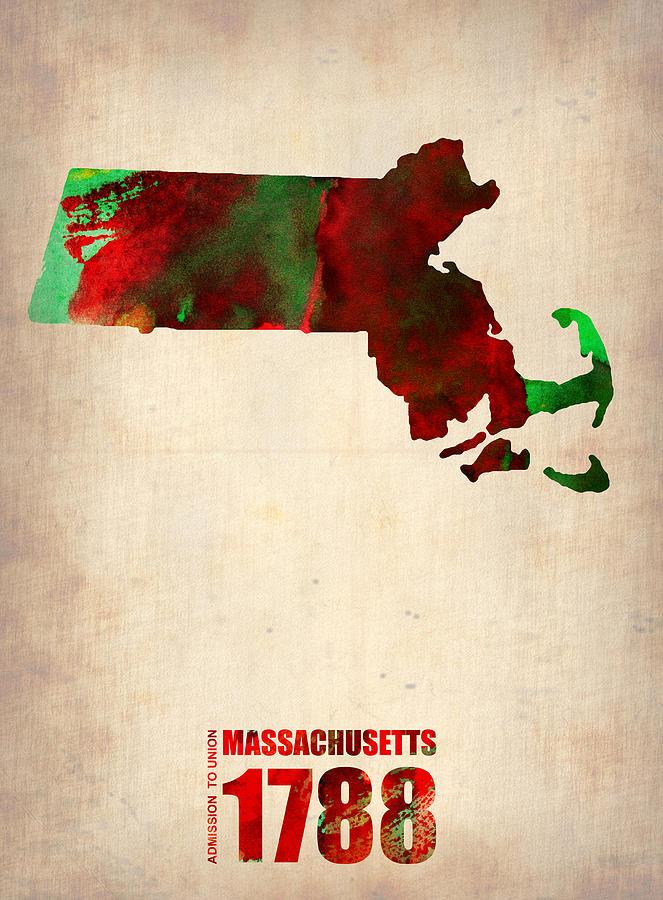 Massachusetts Digital Art - Massachusetts Watercolor Map by Naxart Studio