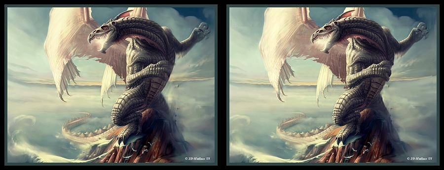 3d Digital Art - Massive Dragon - Gently Cross Your Eyes And Focus On The Middle Image by Brian Wallace