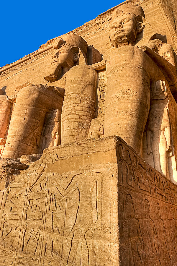 Ancient Photograph - Massive Statues Of Ramses The Great At Abu Simbel by Mark E Tisdale