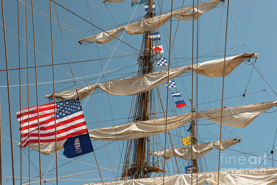Tall Ship Photograph - Mast Flags by Dale Powell