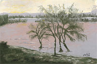 Landscape Painting - Matanza River View by Sherry Hutson