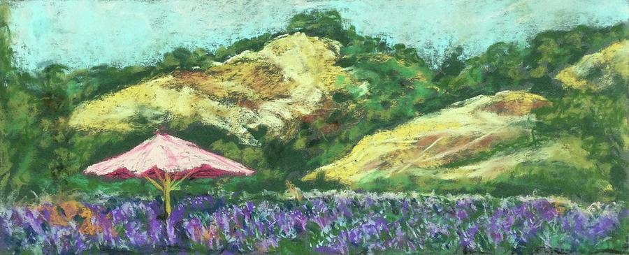 Pastel Pastel - Matanzas Creek Lavendar Fields with Umbrella by Grace Fong by Grace Fong