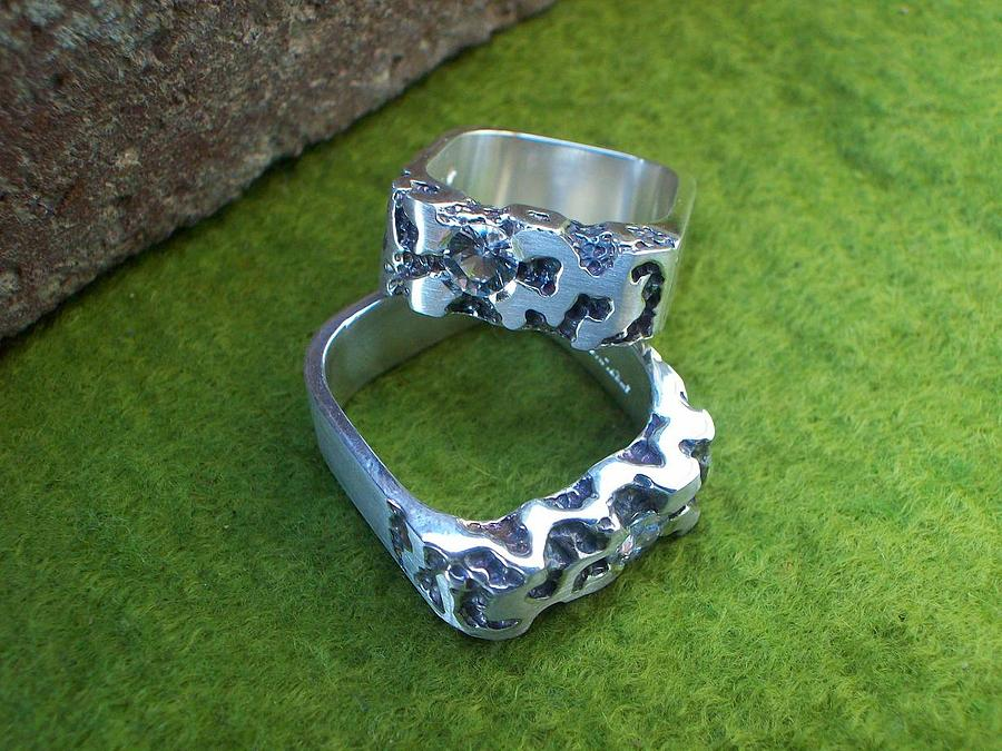 Nugget Look Jewelry - Matching Wedding Bands by Bud Nickell