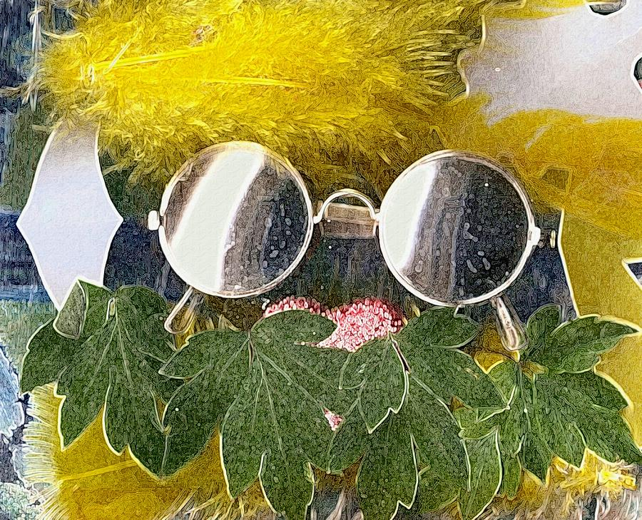 Acryl Mixed Media - Materials And Eyeglasses by Pepita Selles