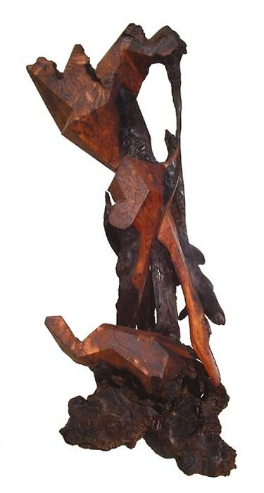 Contemporary Wood Sculptures Sculpture - Maternal Affection  by Daryl Stokes
