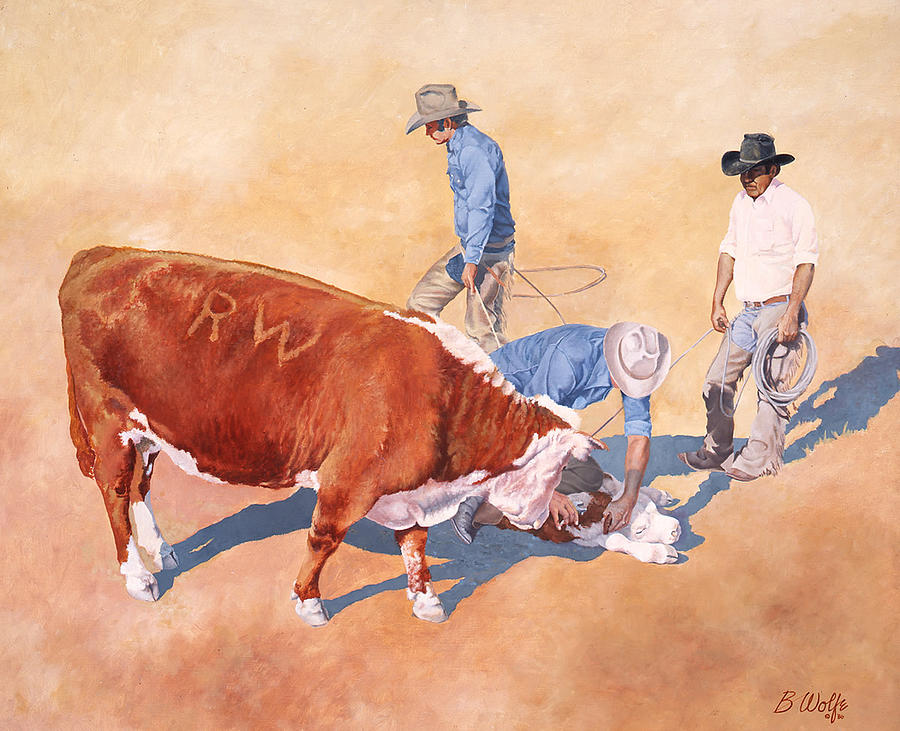 Rodeo Painting - Maternal Concern by Bassel Wolfe