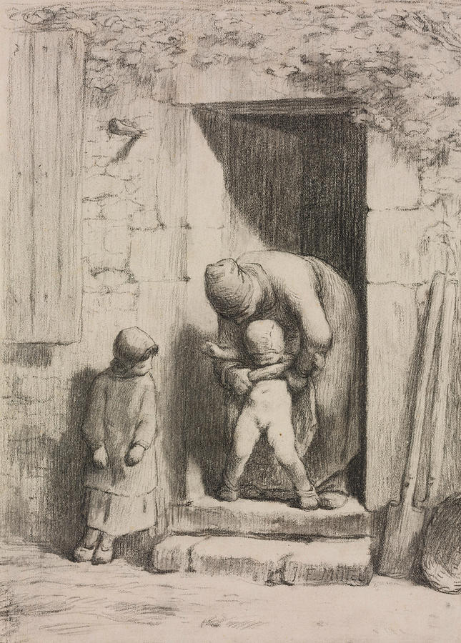 French Painters Drawing - Maternal Solicitude by Jean-Francois Millet