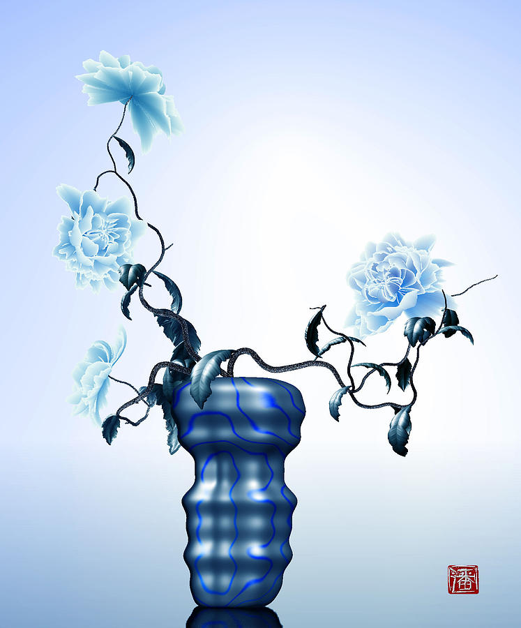 Math Flowers In Blue 1 Digital Art by GuoJun Pan