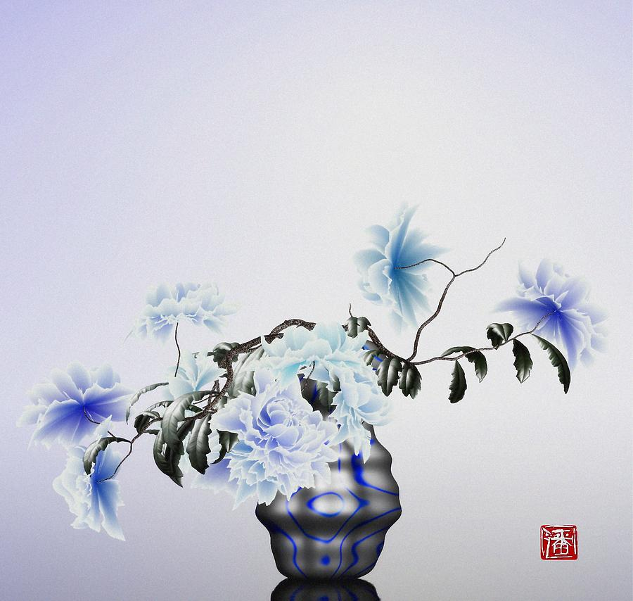 Math Flowers In Blue 2 Digital Art by GuoJun Pan