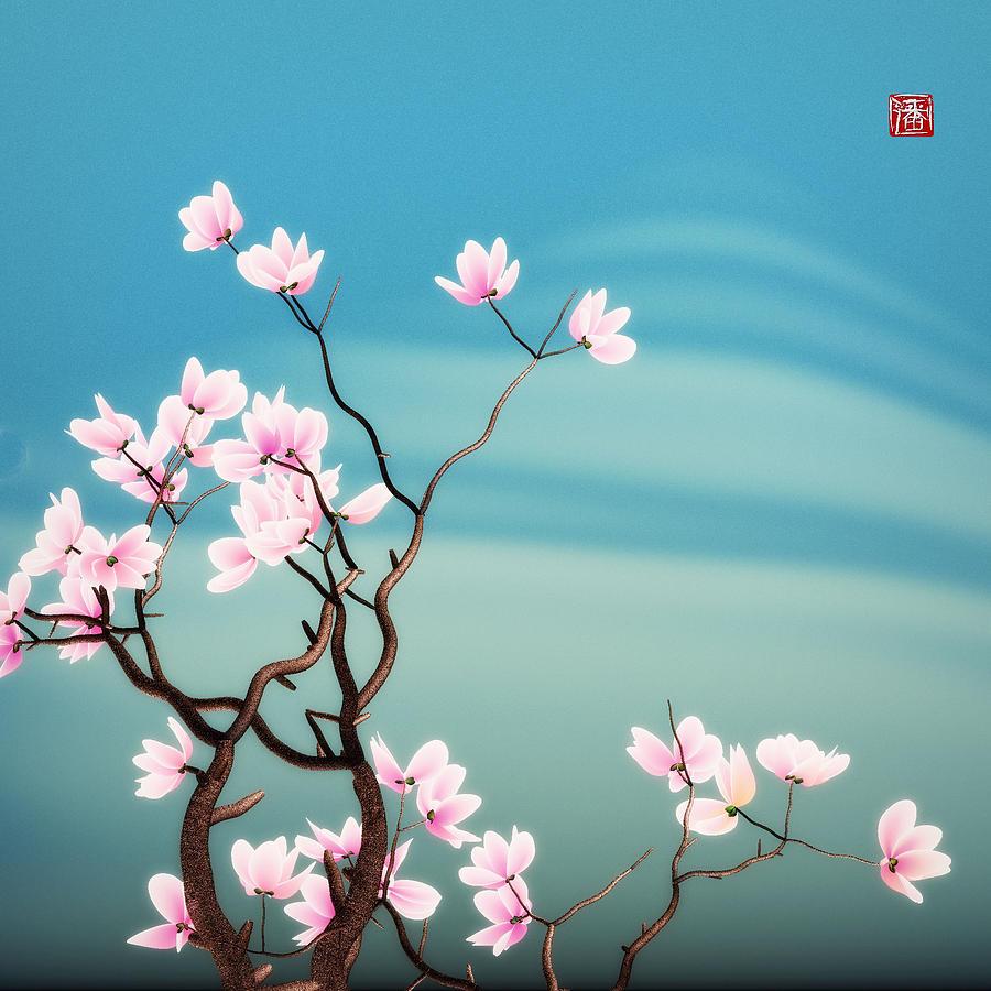 Magnolia Digital Art - Math Magnolia by GuoJun Pan